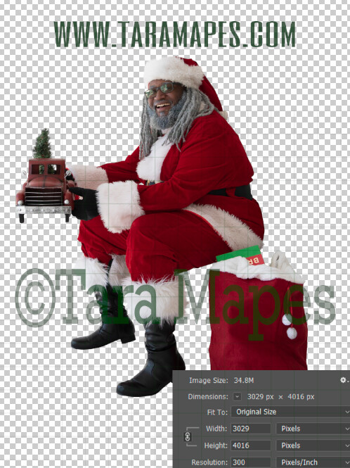 Black Santa Overlay PNG - African American Santa Overlay - Santa with Giving Red Truck Clip Art - Santa Cut Out  - Christmas Overlay - Santa PNG - Christmas Overlay