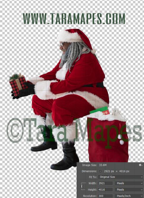 Black Santa Overlay PNG - African American Santa Overlay - Santa with Gift Clip Art - Santa Cut Out  - Christmas Overlay - Santa PNG - Christmas Overlay