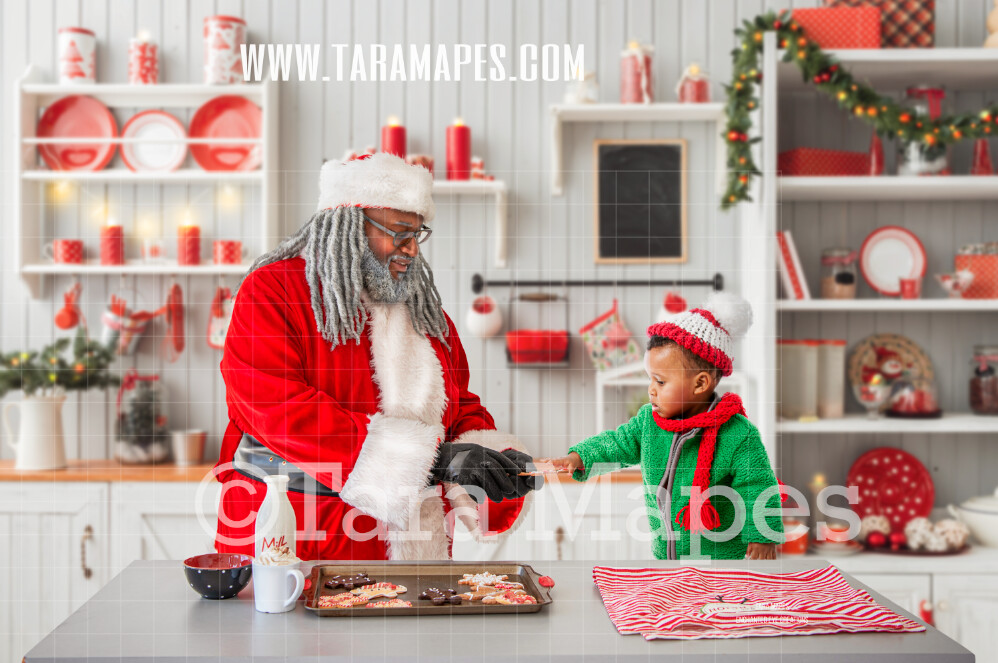 Black Santa Christmas Kitchen - Baking Christmas Cookies with Black Santa - LAYERED PSD - Holiday Christmas Digital Background / Backdrop