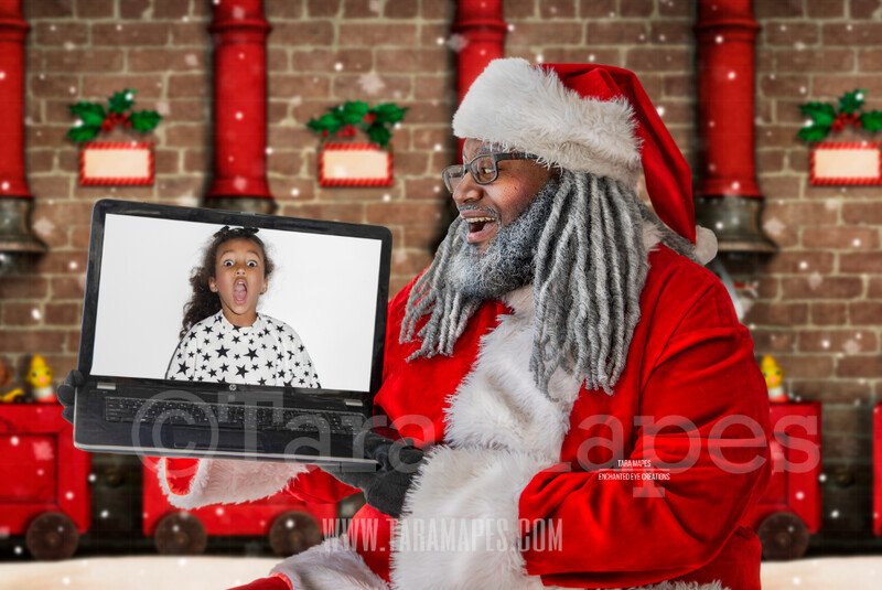 Black Santa with Laptop - Black Santa Remote Virtual Visit Scene - Zoom Call with Santa - LAYERED PSD - Holiday Christmas Digital Background / Backdrop