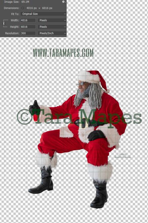 Black Santa Lap Overlay PNG - African American Santa Overlay - Santa with Gift Clip Art - Santa Cut Out  - Christmas Overlay - Santa PNG - Christmas Overlay