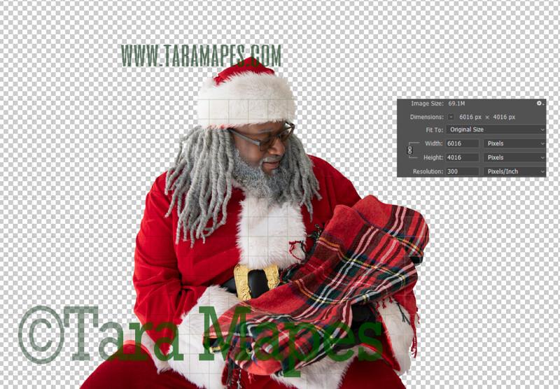 Black SantaOverlay PNG - African American Santa Overlay - Santa with Gift Clip Art - Santa Cut Out  - Christmas Overlay - Santa PNG - Christmas Overlay