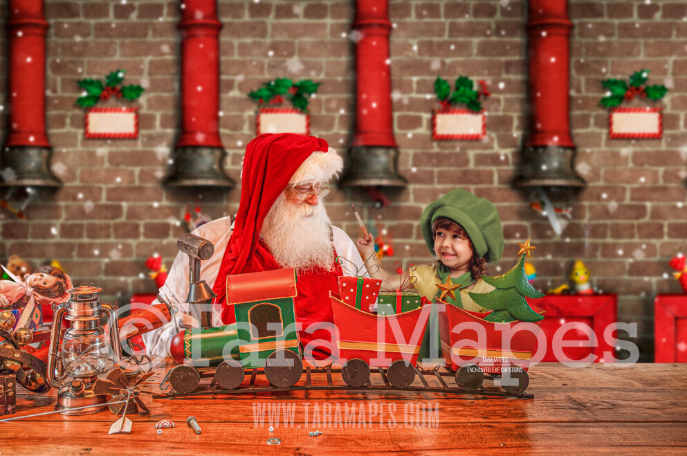 Santa's Workshop Digital Background - Santa's Toy Shop - LAYERED PSD! Santas Work Shop - Santa with Train - Holiday Christmas Digital Background / Backdrop
