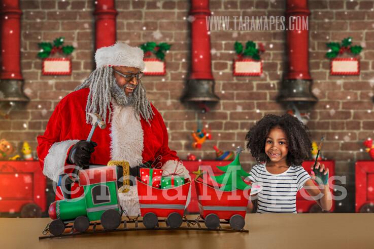 Black Santa's Workshop Digital Background - African American Santa's Toy Shop - LAYERED PSD! Santas Work Shop - Black Santa with Train - Holiday Christmas Digital Background / Backdrop