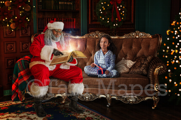 Black Santa Reading Book on Couch by Fireplace - Black Santa with Magic Book - Cozy Christmas Holiday Digital Background Backdrop