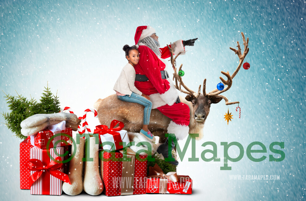 Rudolph Ride - Black Santa on Reindeer FREE SNOW OVERLAY - Black Santa Riding North Pole- Christmas Holiday Digital Background Backdrop