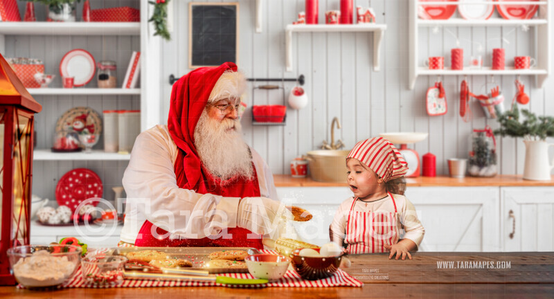Baking Cookies with Santa  Christmas Kitchen with Santa - Christmas Holiday Digital Background Backdrop FREE SPARKLES OVERLAY INCLUDED