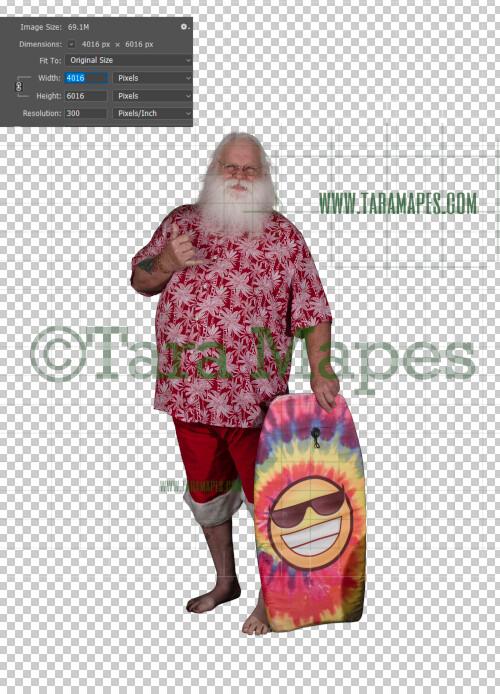 Beach Santa Overlay PNG - Aloha Santa - Hang Ten Santa Overlay - Santa Clip Art - Santa Cut Out  - Christmas Overlay - Santa PNG - Christmas Overlay