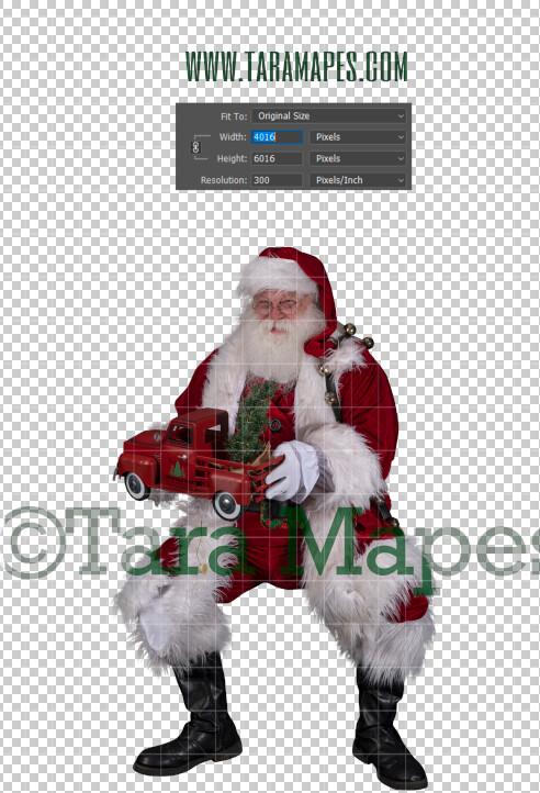 Santa Overlay PNG - Santa Overlay with Gift - Santa Clip Art - Santa Cut Out  - Christmas Overlay - Santa PNG - Christmas Overlay