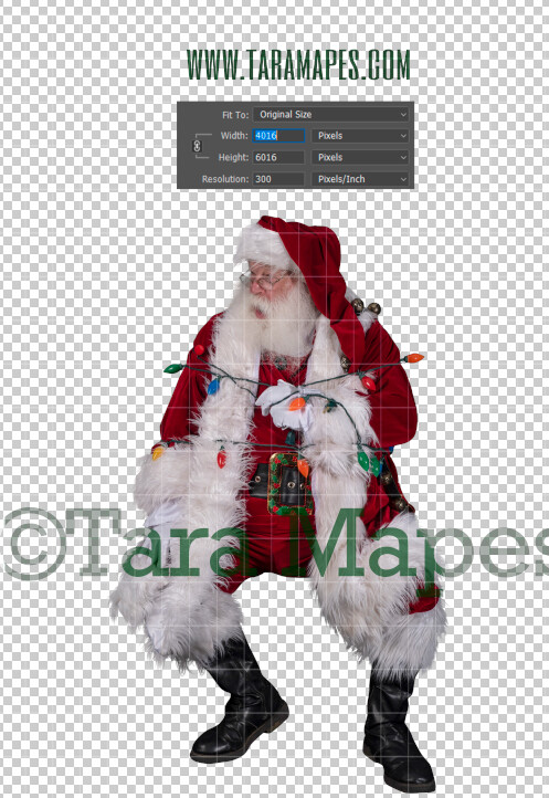 Santa Overlay PNG - Santa Overlay Tied Up with Lights - Santa Clip Art - Santa Cut Out  - Christmas Overlay - Santa PNG - Christmas Overlay