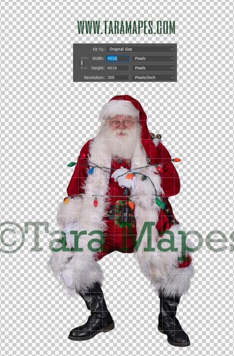 Santa Overlay PNG - Santa Overlay Tied Up with Lights - Santa Clip Art - Santa Cut Out  - Christmas Overlay - Santa PNG - Christmas Overlay