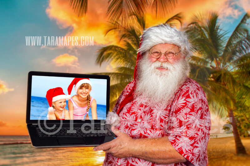 Beach Santa Virtual Visit - Zoom Santa - Digital Background - Santa's Laptop - LAYERED PSD! Aloha Santa - Holiday Christmas Digital Background / Backdrop