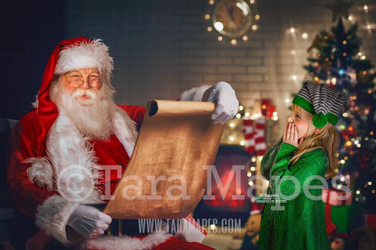 Santa with Big Scroll - Naught or Nice List - Christmas Holiday Digital Background Backdrop