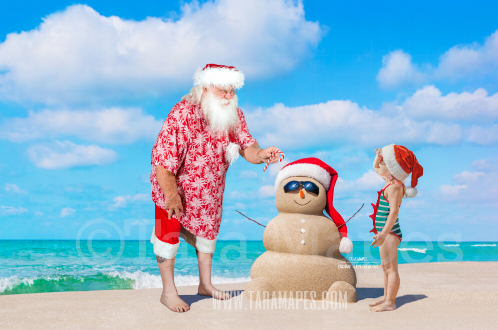 Beach Santa with Sand Snowman on Beach by Ocean - Beach Santa in Shorts and Hawaiian shirt - Cozy Warm Christmas Holiday Digital Background Backdrop