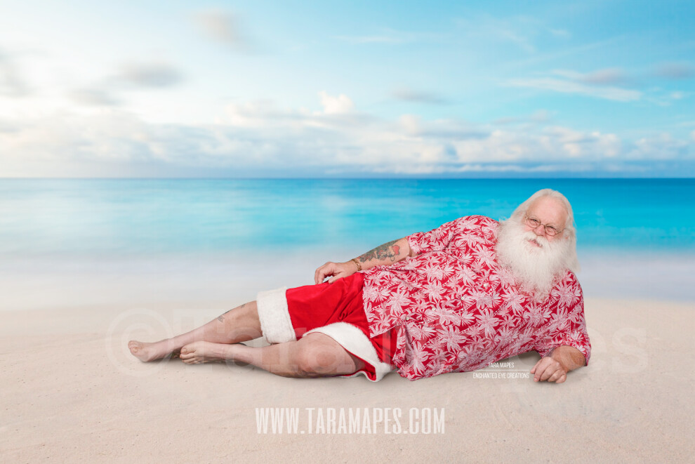 Beach Santa Lounging on Beach by Ocean - Beach Santa in Shorts and Hawaiian shirt - Cozy Warm Christmas Holiday Digital Background Backdrop
