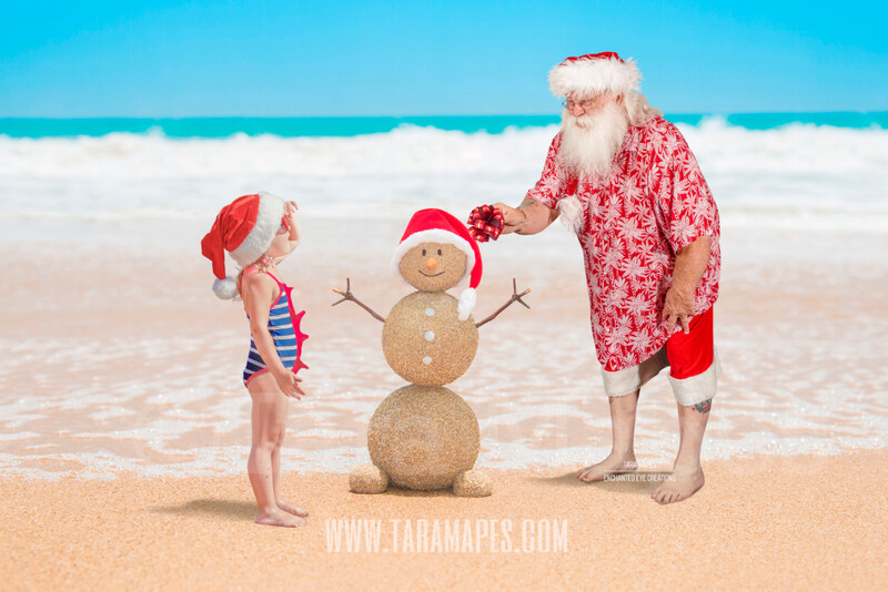 Beach Santa with Sand Snowman 2 on Beach by Ocean - Beach Santa in Shorts and Hawaiian shirt - Cozy Warm Christmas Holiday Digital Background Backdrop