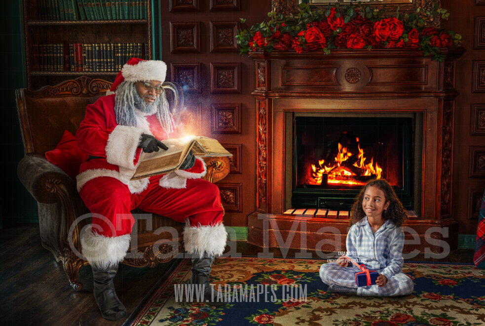 Black Santa Reading Magic Book on Chair by Fireplace - Black Santa with Magic Book - Cozy Christmas Holiday Digital Background Backdrop