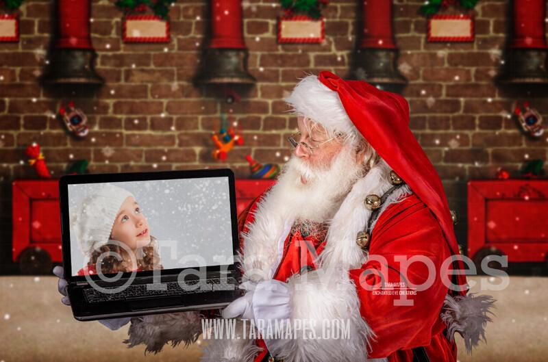 Santa with Laptop - Santa Remote Virtual Visit Scene - Zoom Call with Santa - LAYERED PSD - Holiday Christmas Digital Background / Backdrop