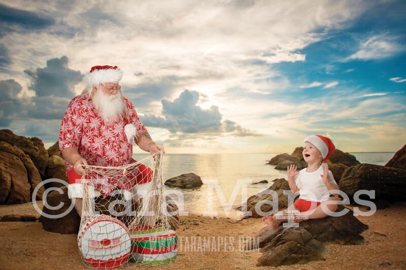 Beach Santa with Shell Net Bag of Gifts by Ocean - Beach Santa in Shorts and Hawaiian shirt - Cozy Warm Christmas Holiday Digital Background Backdrop
