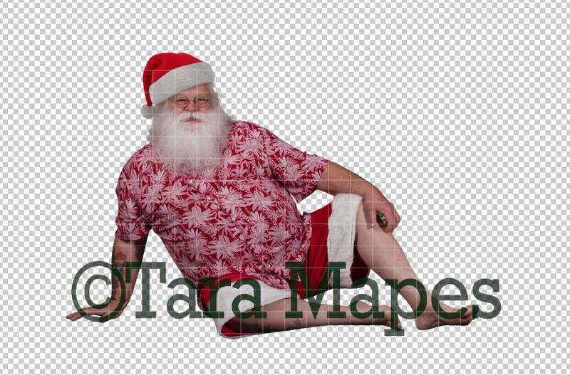 Beach Santa in Shorts and Hat Overlay PNG - Santa Overlay - Santa Clip Art - Santa Cut Out  - Christmas Overlay - Santa PNG - Christmas Overlay