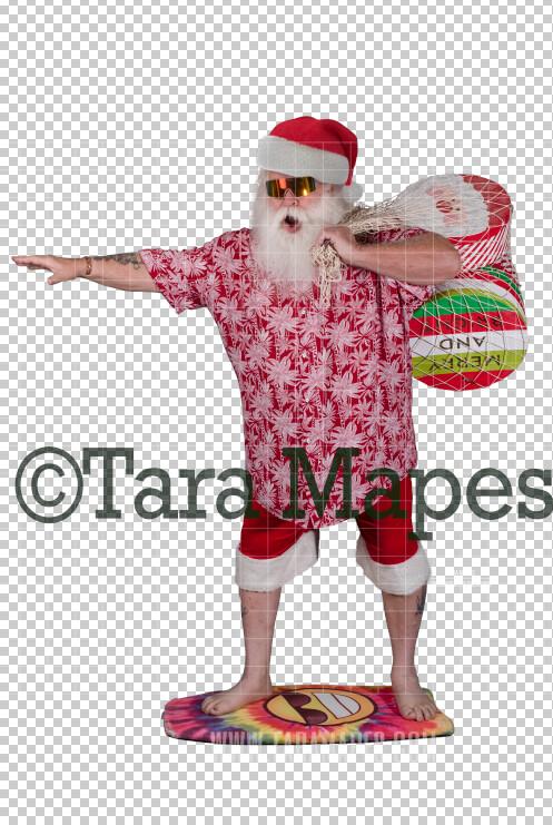 Beach Santa in Hat and Shorts Overlay PNG - Santa Overlay - Santa Clip Art - Santa Cut Out  - Christmas Overlay - Santa PNG - Christmas Overlay