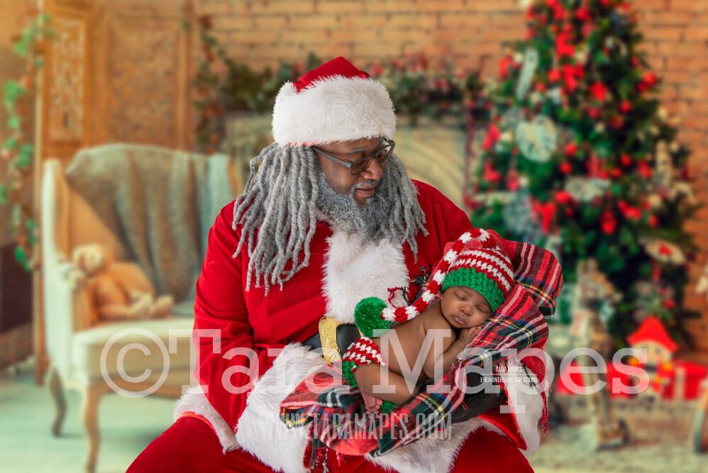 Black Santa With Arms Posed for Newborn - Black Santa Newborn Scene - Cozy Christmas Holiday Digital Background Backdrop