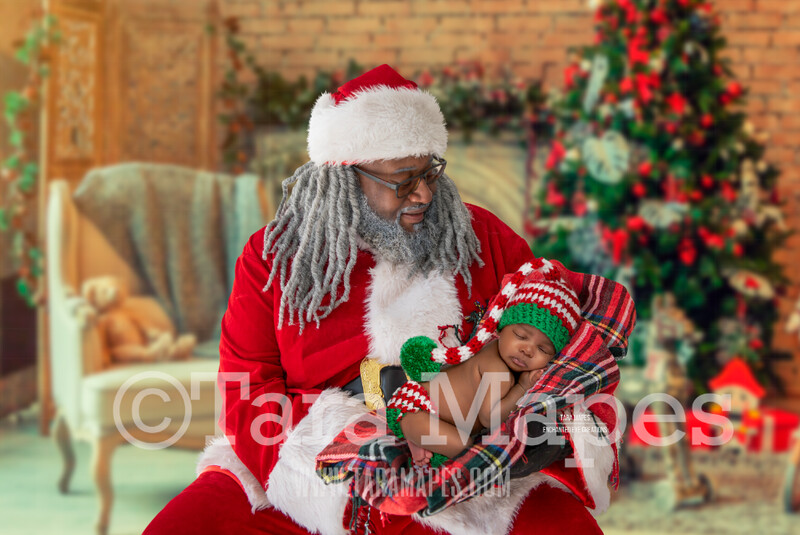 Black Santa With Arms Posed for Newborn - Black Santa Newborn Scene - Cozy Christmas Holiday Digital Background Backdrop
