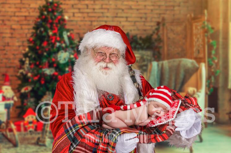 Santa With Arms Posed for Newborn - Santa Newborn Scene - Cozy Christmas Holiday Digital Background Backdrop