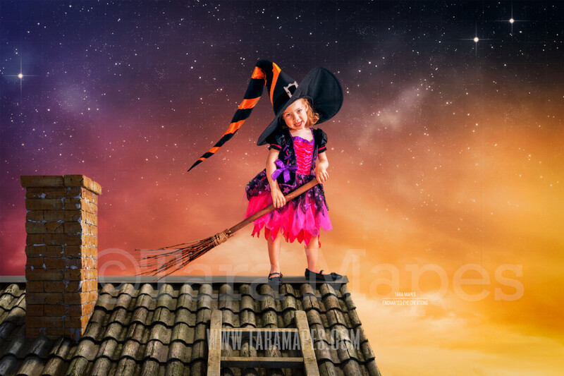 Halloween Rooftop -  Rooftop Over Sunset Sky - Halloween Digital Background / Backdrop