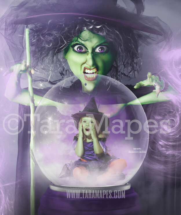 Witch Looking in Magic Snow Globe LAYERED PSD- Snowglobe Halloween Witch Digital Background / Backdrop