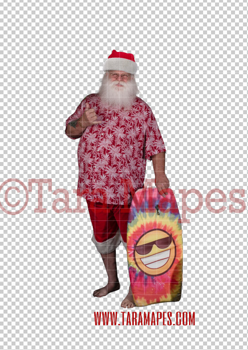 Beach Santa in Hat and Shorts Overlay PNG - Santa Surfing Overlay - Santa Clip Art - Santa Cut Out  - Christmas Overlay - Santa PNG - Christmas Overlay