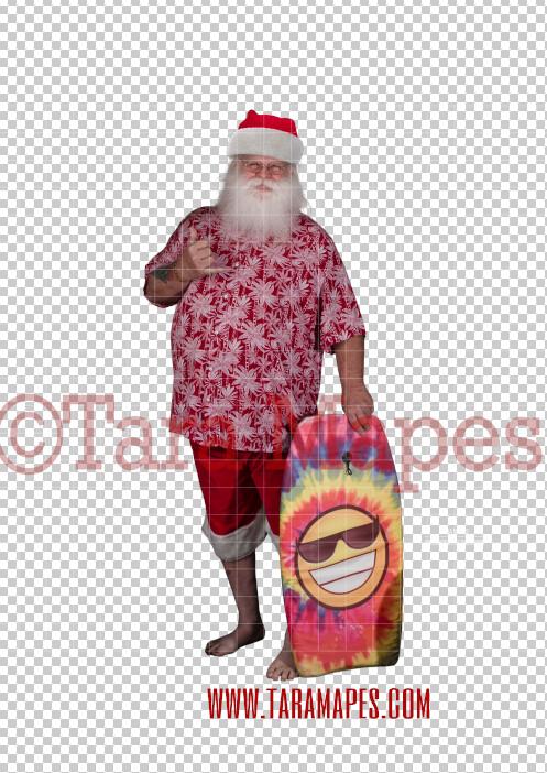 Beach Santa in Hat and Shorts Overlay PNG - Santa Surfing Overlay - Santa Clip Art - Santa Cut Out  - Christmas Overlay - Santa PNG - Christmas Overlay