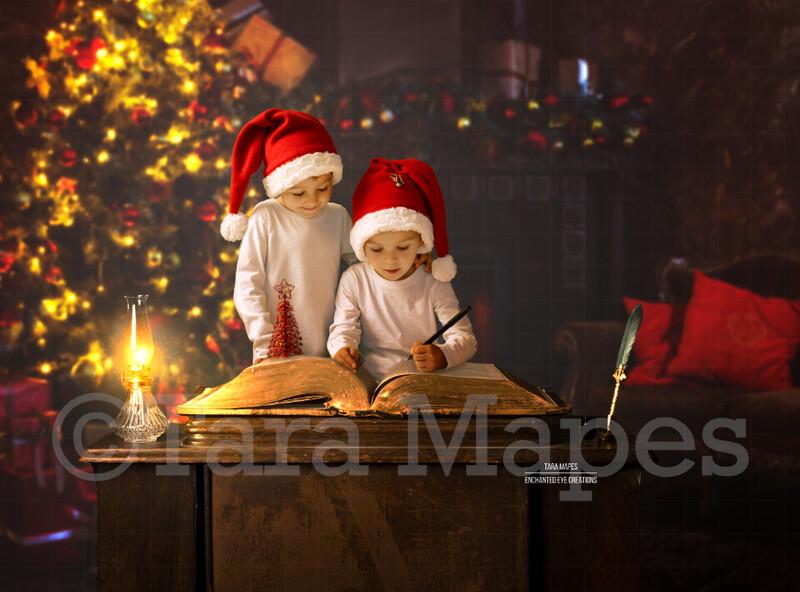 Christmas Desk with Big Book- Santa Book on Desk - Good List Book - Letter to Santa - LAYERED PSD - Holiday Christmas Digital Background / Backdrop