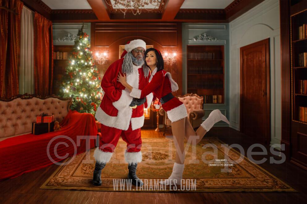Mommy Kissing Black Santa - Black Santa Kissing Mommy - Funny Fun Christmas Digital Background- Cozy Christmas Holiday Digital Background Backdrop