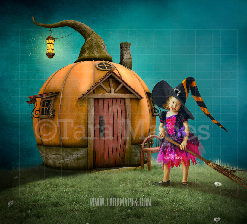 Pumpkin House on a Hill -Whimsical  Scene - Fairytale - Halloween- Digital Background Backdrop