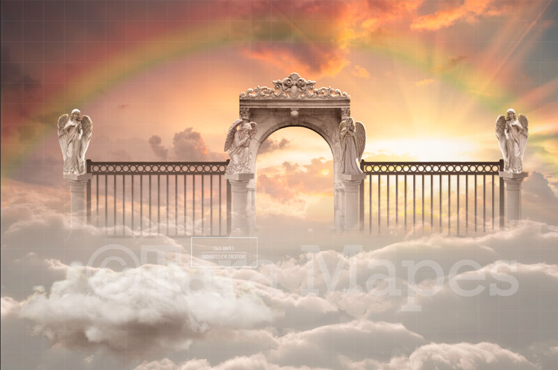 Heaven's Gates - Rainbow Heavens Gates - Memorial Image for a Loved One Who has Passed -  Heaven Digital Background / Backdrop