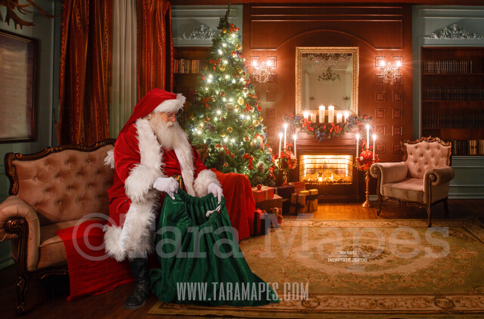 Santa Claus on Couch in Vintage Room - Santa Claus with GIftbag by Fireplace - Cozy Christmas Holiday Digital Background Backdrop