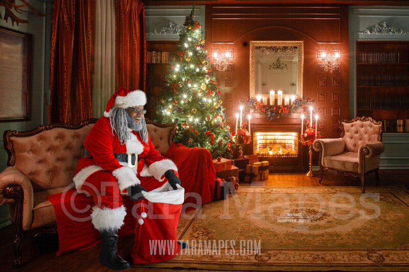 Black Santa in Vintage Room - Black Santa with Gift Bag - Black Santa on Couch near Fireplace- Cozy Christmas Holiday Digital Background Backdrop