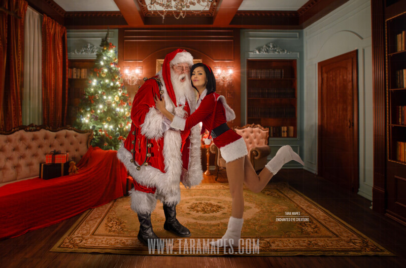 Kissing Santa Claus - Santa Claus Kiss - Funny Fun - Cozy Christmas Holiday Digital Background Backdrop