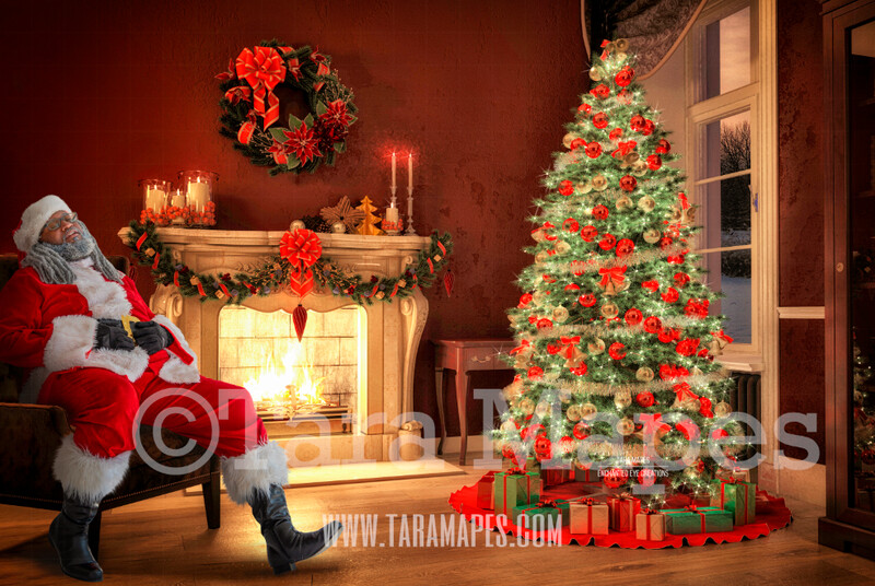Black Santa Asleep on Chair by Fireplace- Black Santa Fell Asleep on Chair - Catching Santa Sleeping- Cozy Christmas Holiday Digital Background Backdrop