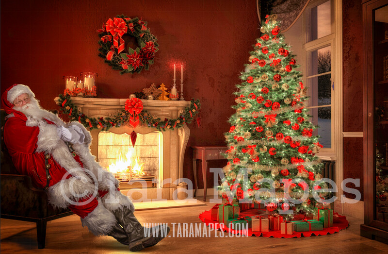 Santa Asleep on Chair by Fireplace- Santa Fell Asleep on Chair - Catching Santa Sleeping- Cozy Christmas Holiday Digital Background Backdrop