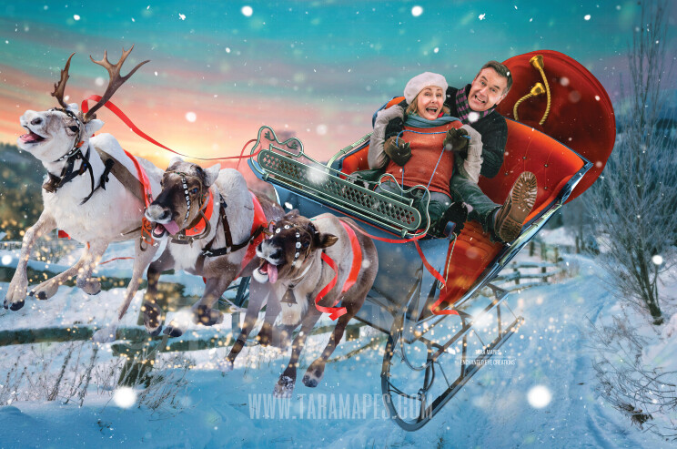 Reindeer Flying in Sky with Sleigh on Winter Road- LAYERED PSD! Smiling Reindeer - Riding in Sleigh Holiday Christmas Digital Background /Backdrop