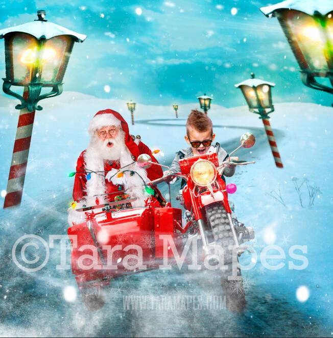 Santa Sidecar - Santa Kidnapping - LAYERED PSD! Fun Santa on Motorcycle Sidecar Tied with Lights - Holiday Christmas Digital Background /Backdrop