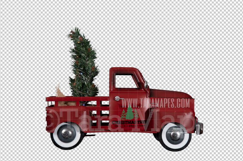 Christmas Truck Toy- Christmas Truck Cut Out  - Christmas Overlay - Christmas Metal Truck Toy PNG - Christmas Overlay