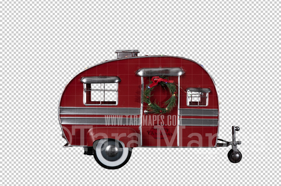 Christmas Camper Toy- Christmas Metal Camper Metal Toy Cut Out  - Christmas Overlay - Christmas Metal Camper Toy PNG - Christmas Overlay