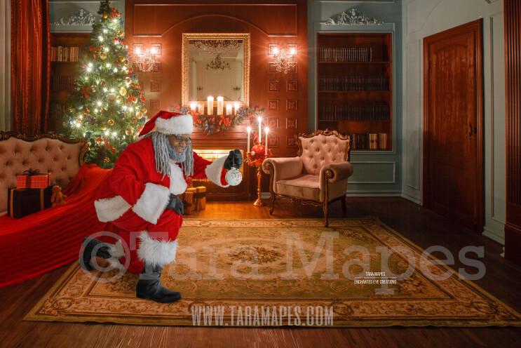 Black Santa Kneeling with Ornament- Black Santa Vintage Room Ornament- Cozy Christmas Holiday Digital Background Backdrop