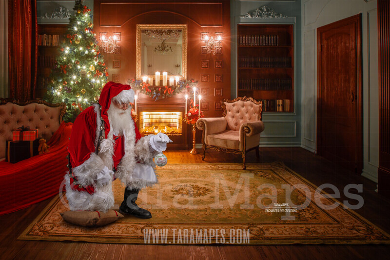 Santa Kneeling on Pillow with Ornament- Santa by Fireplace with Ornament - Cozy Christmas Holiday Digital Background Backdrop