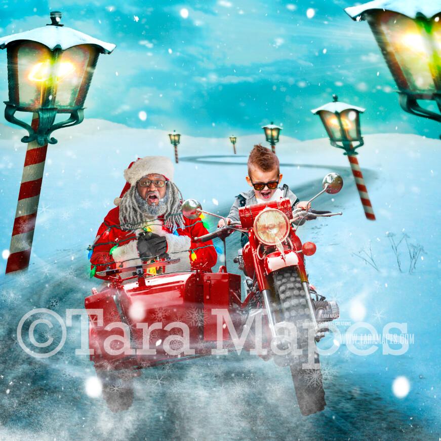 Black Santa Sidecar - Black Santa Kidnapping - LAYERED PSD! Fun Santa on Motorcycle Sidecar Tied with Lights - Holiday Christmas Digital Background /Backdrop