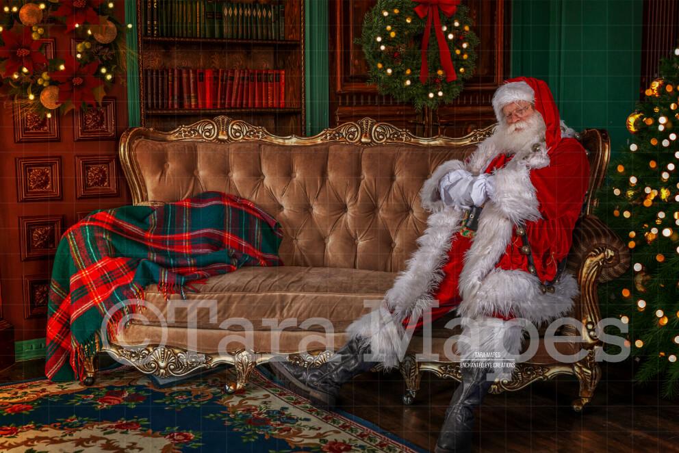 Santa Sleeping on Couch- Santa Vintage Room Fell Asleep- Cozy Christmas Holiday Digital Background Backdrop