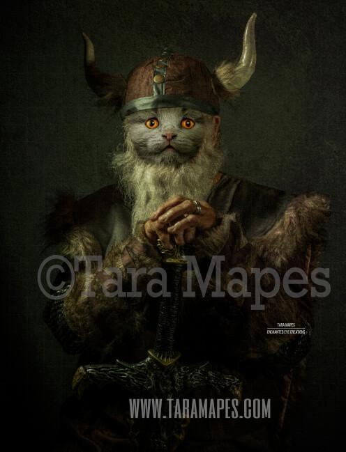 Pet Portrait PSD Template - Pet Painting Portrait Viking Body Tara Mapes - Layered PSD  Digital Background Backdrop